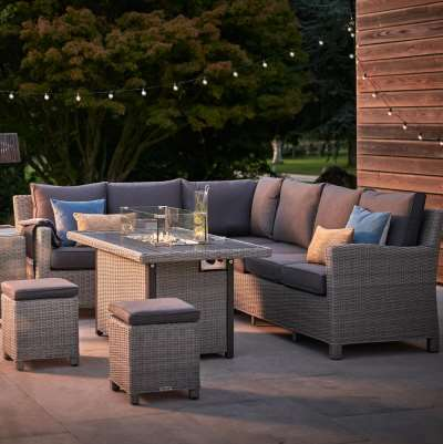 2021 Kettler Palma Casual Garden Dining Corner Set With Fire Pit Table – Whitewash