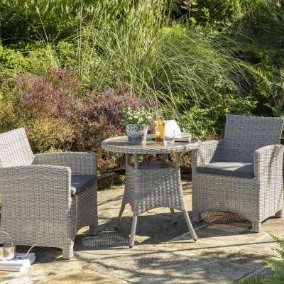 2021 Kettler Palma Garden Bistro Table Set - Whitewash