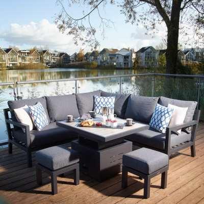 2021 Bramblecrest La Rochelle Mini Adjustable Ceramic Dining Table Set - Anthracite/Dark Grey