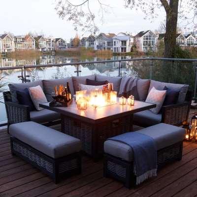 2021 Bramblecrest Portofino Garden Sofa Set With Square Fire Pit Dining Table & 2 Benches