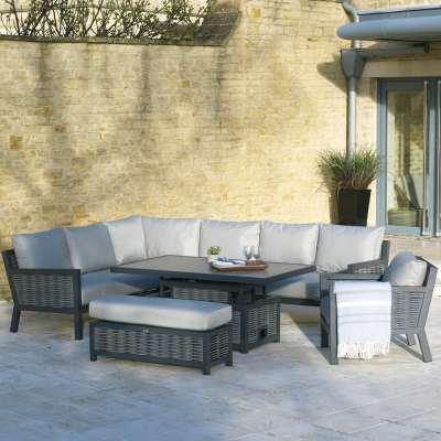 2021 Bramblecrest Portofino Rectangle Outdoor Sofa Set with Adjustable Table Bench & Arm Chair