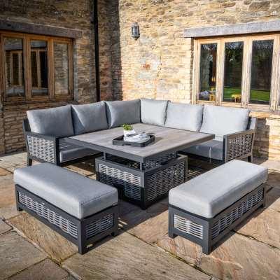 2021 Bramblecrest Portofino Square Sofa Set With Adjustable Dining Table