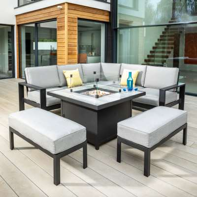 2021 Hartman Apollo Square Gas Fire Pit Casual Dining Set with Tuscan Table - Carbon/Pewter