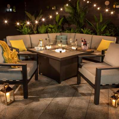 2021 Hartman Apollo Square Gas Fire Pit Casual Dining Set With Lounge Chairs - Carbon/Pewter