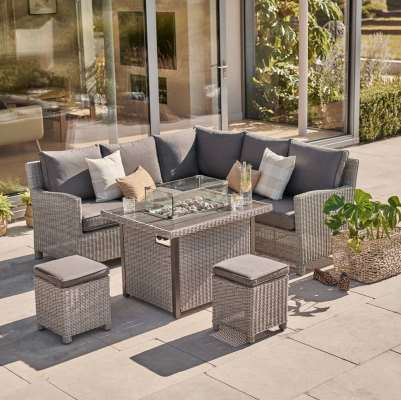 2021 Kettler Palma Casual 6 Seater Mini Corner Garden Dining Set With Fire Pit Table - Whitewash