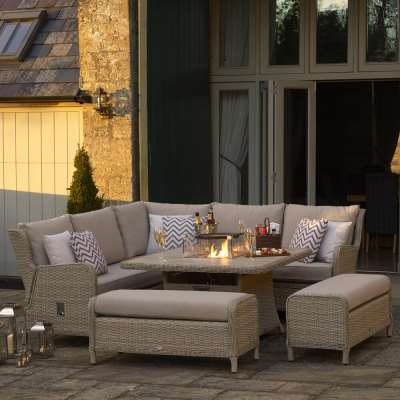 2021 Bramblecrest Chedworth Reclining Garden Sofa Set with Square Fire Pit Dining Table - Sandstone