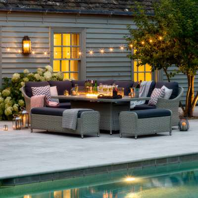2021 Bramblecrest Monterey Garden Sofa Set with Rectangle Fire Pit Dining Table & 2 Benches - Dove Grey