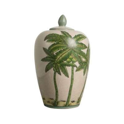 Ceramic Palm Tree Vase With Lid