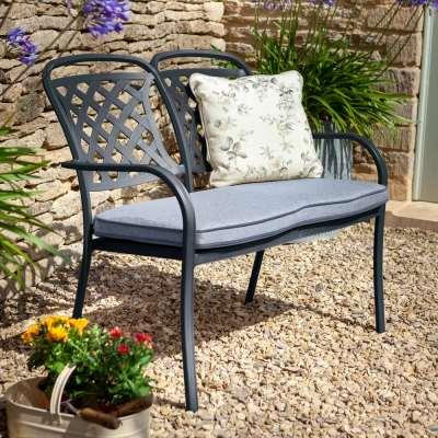 2021 Hartman Berkeley 2 Seater Garden Bench With Cushion – Antique Grey/Platinum