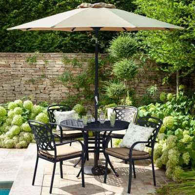 2021 Hartman Berkeley 4 Seater Round Garden Dining Table Set - Bronze/Amber