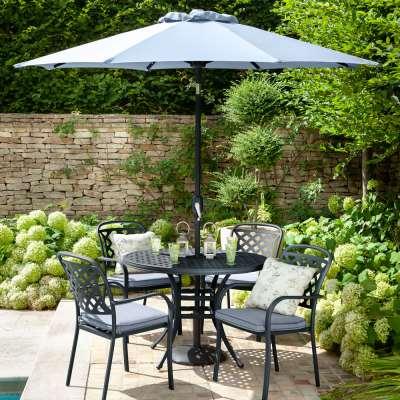 2021 Hartman Berkeley 4 Seat Garden Dining Set with Round Table & Parasol - Antique Grey/Platinum