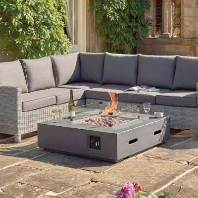 Kettler Universal Fire Pit Coffee Table 105cm with Glass Shield