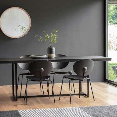 Matte Oak Dining Table Black Large (2m)