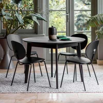 Matte Oak Round Dining Table Black (1.1m)
