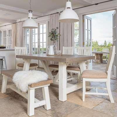 Modern Farmhouse Extending Dining Table Set (1.6m)