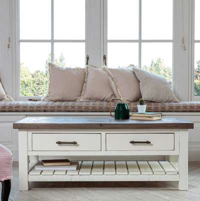 Modern Farmhouse Rustic Coffee Table With Drawers
