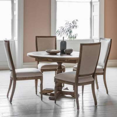 The Colonial Round Extending Dining Table & Armchair Set (1.2m)