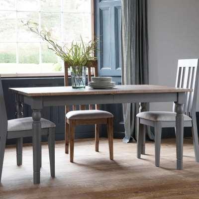 The Rural Extending Oak Dining Table Set- Slate Grey (1.5m)