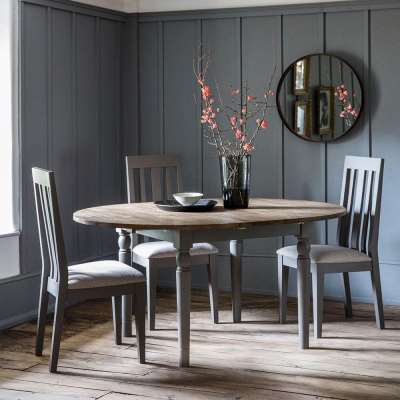 The Rural Round Extending Oak Dining Table Set – Slate Grey (1.2m)