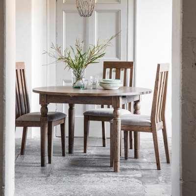 The Rural Round Extending Oak Dining Table Set – Smokey Oak (1.2m)