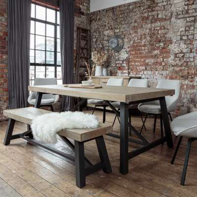 Urban 2m Extendable Dining Table Set with Light Grey Gaudi Chairs