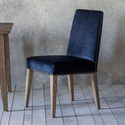 Victoria Dining Chair in Blue Velvet (2pk)