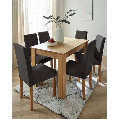 Ava Large Dining Table & 6 Fabric Chairs