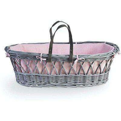 Clair De Lune Grey Wicker Moses Basket