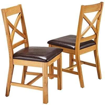 Norfolk Oak Veneer Pair of Dining Chairs