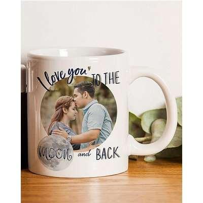 Personalised Moon & Back Photo Mug