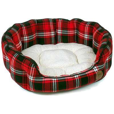 Petface Red Tartan Oval Dog Bed