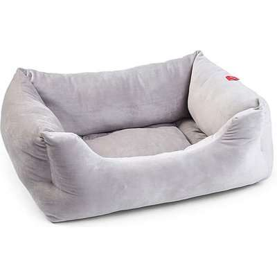 Zoon Silver Grey Velour Square Bed