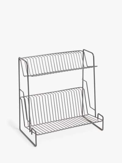 ANYDAY John Lewis & Partners 2 Tier Dish Drainer, Grey