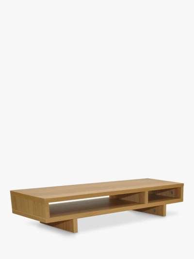 John Lewis & Partners Abacus Monitor Stand and Desk Storage Station, Natural, FSC Certified (Oak Veneer)