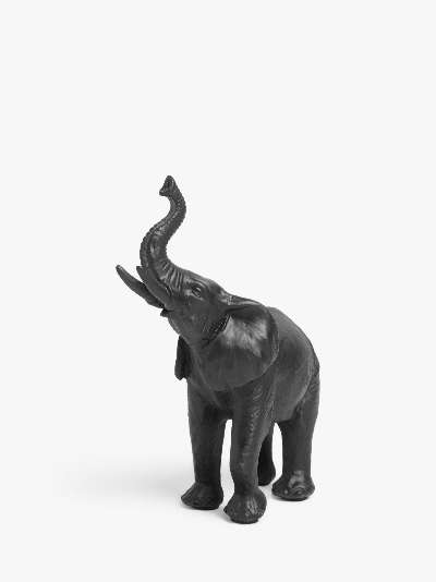 John Lewis & Partners Baby Elephant Sculpture, Black, H15cm