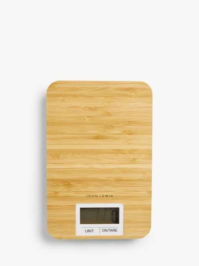 John Lewis & Partners Bamboo Electronic Kitchen Scale, 5kg