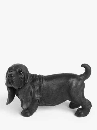 John Lewis & Partners Betty Basset Hound Dog Sculpture, Black, H20cm