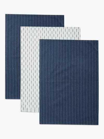 John Lewis & Partners Striped Tea Towels, Pack of 3, Dark Blue