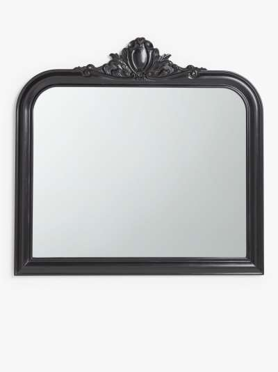 John Lewis & Partners Carved Overmantle Mirror, 105 x 109cm, Black