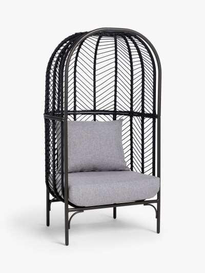 John Lewis & Partners Chevron Garden Single Chair Pod, Black/Grey