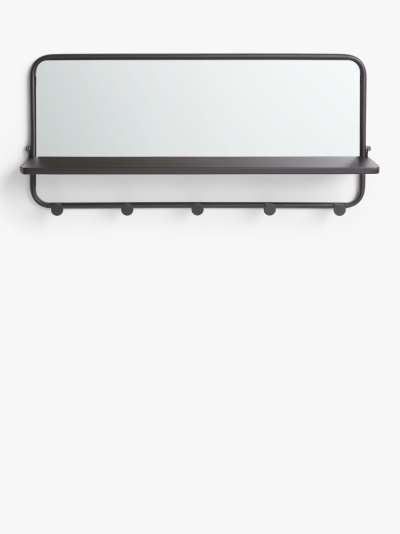 John Lewis & Partners Coat Hook Shelf with Mirror, Black