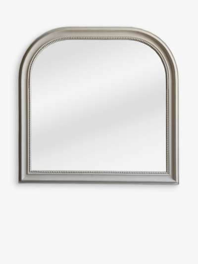 John Lewis & Partners Distressed Overmantle Mirror, 90 x 92cm, Cream