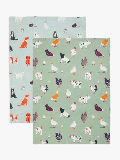 John Lewis & Partners Farm Animals Tea Towels, Pack of 2, Blue/Multi