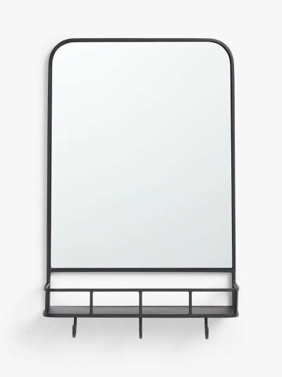 John Lewis & Partners Ferro Metal Shelf & Hooks Hallway Wall Mirror, 84 x 53cm, Black
