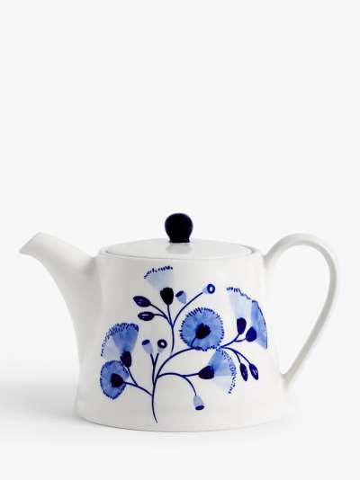 John Lewis & Partners Harbour Floral Teapot, 1.1L, Blue