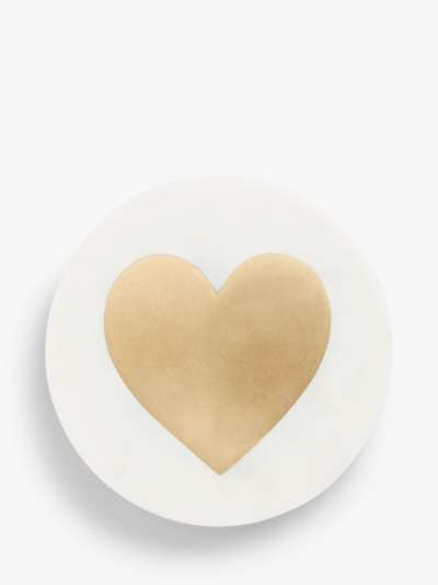 John Lewis & Partners Heart Marble Coaster, White/Brass