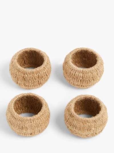 John Lewis & Partners Jute Napkin Rings, Set of 4, Natural