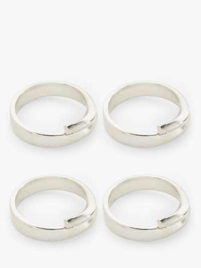 John Lewis & Partners Metal Band Napkin Rings, Set of 4, Silver