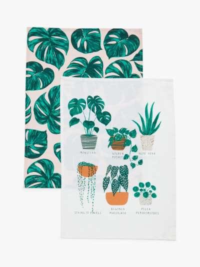 John Lewis & Partners Monstera Houseplant Tea Towels, Pack of 2, Green