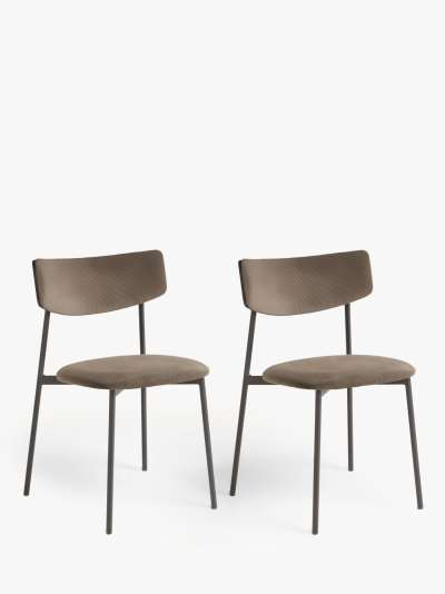 ANYDAY John Lewis & Partners Motion Corduroy Upholstered Dining Chairs, Set of 2